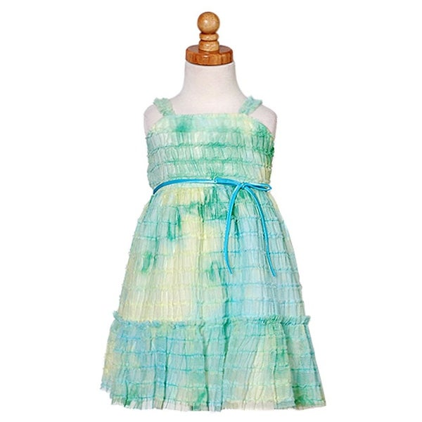 Sweet Kids Baby Girls Teal Soft Tulle Ruffle Easter Dress 6M-24M