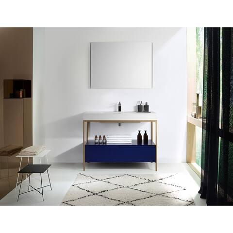 "TEXEL 42"" Navy Blue/Red Amber Freestanding Bathroom Vanity Set"