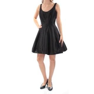 Womens Black Sleeveless Mini Fit + Flare Cocktail Dress Size: 6