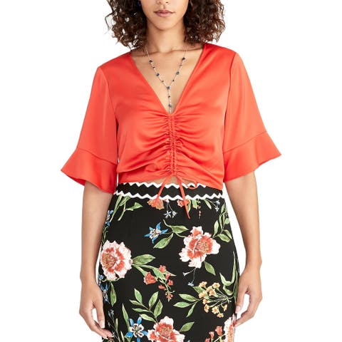 Rachel Rachel Roy Womens Stacey Blouse Ruched Short Sleeves