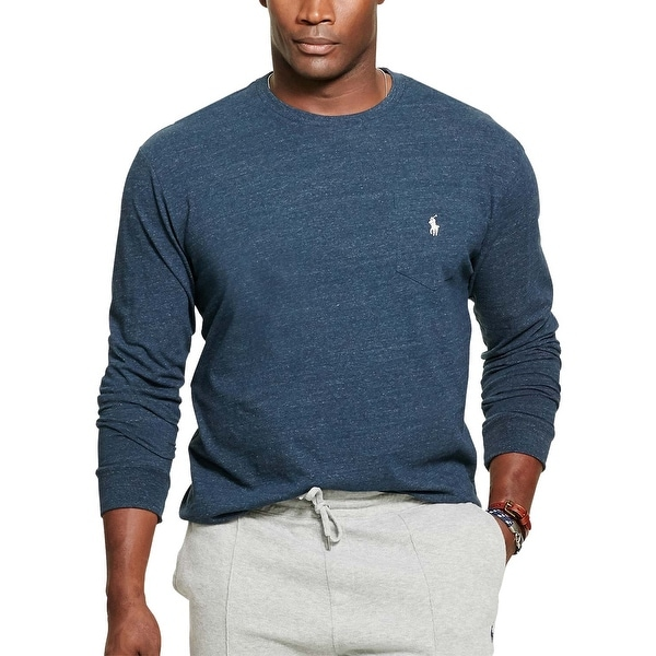 c548e89b Shop Polo Ralph Lauren Big and Tall Blue Eclipse Heather Long Sleeve T-Shirt  XLT - Free Shipping On Orders Over $45 - Overstock - 19736329