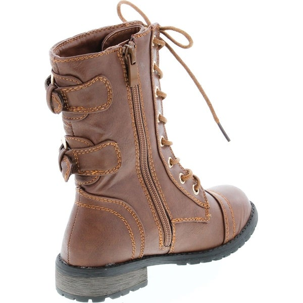 Buckle Lace Up Combat Boots - Overstock