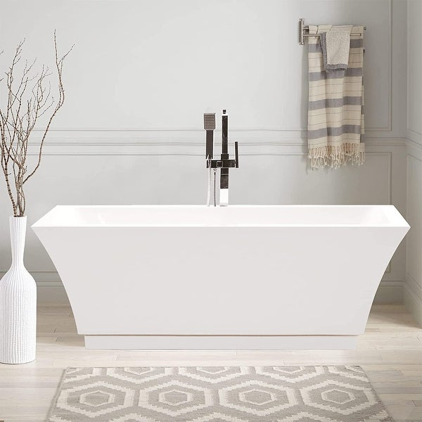 """Vanity Art 59"""" Freestanding Acrylic Bathtub Modern Stand Alone Soaking Tub with Chrome Finish Slotted Overflow & Pop-up Drain. Opens flyout."""