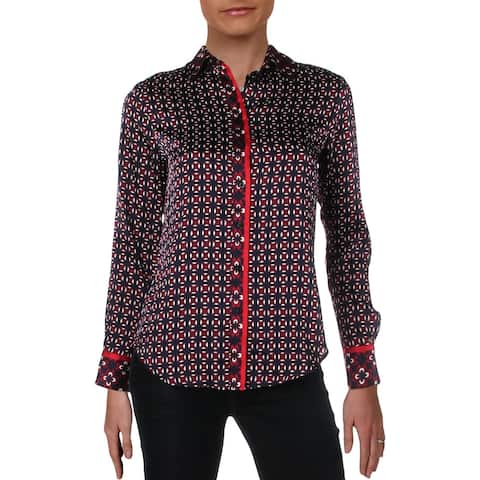 Lauren Ralph Lauren Womens Petites Button-Down Top Printed Long Sleeves - PXS