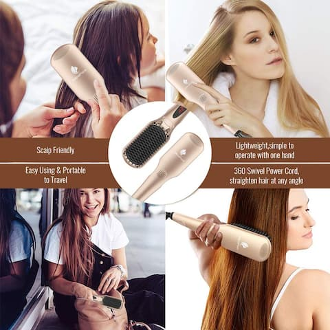 2-in-1 Ionic Enhanced Hair Straightener Brush