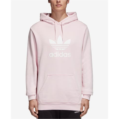 Adidas Mens Treifoil Hoodie Sweatshirt, Pink, Small