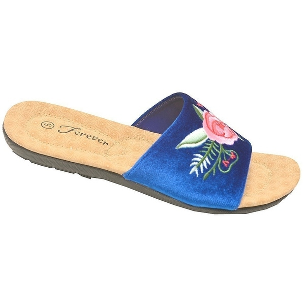 833d9d0df Adult Blue Pink Rose Embroidered Stylish Open Toe Slipper Sandals