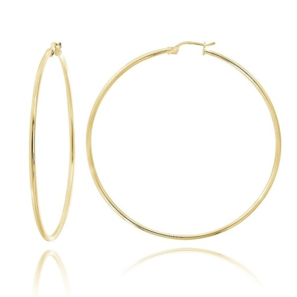 Mcs Jewelry Inc 14 KARAT YELLOW GOLD LARGE CLASSIC HOOP EARRINGS (DIAMETER: 45MM)