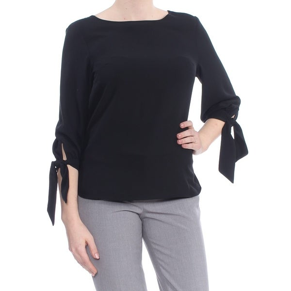 713aa8f2e82c2f Shop NINE WEST Womens Black Tie Sleeve Top Size: M - Free Shipping On  Orders Over $45 - Overstock - 27795701