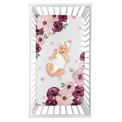 Burgundy and Pink Watercolor Floral Girl Photo Op Fitted Crib Sheet - Blush Maroon Wine Rose Green Shabby Chic Flower Farmhouse