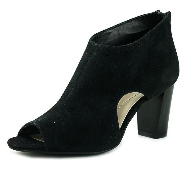 Alfani Myelles Women Peep-Toe Leather Black Bootie