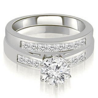 1.45 CT.TW Channel Set Princess Cut Diamond Bridal Set in 14KT White Gold - White H-I