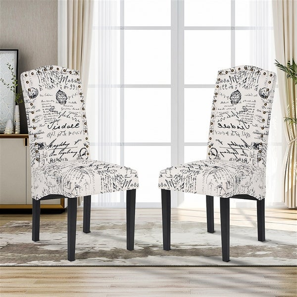 Dining Script Fabric Accent Chair with Solid Wood Legs, Set of 2. Opens flyout.
