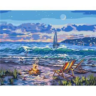 "Beach - Paint By Number Canvas W/Lights Kit 11""X14"""