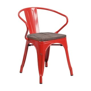 Offex Red Metal Stackable Bistro Style Chair with Wood Seat and Arms - N/A