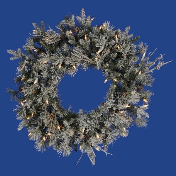 """24"""" Pre-Lit Frosted Wistler Fir Artificial Christmas Wreath - Clear Dura Lights - green"""