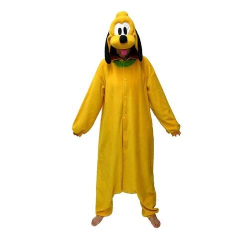 Unisex Adult Pajamas Cosplay Costume Animal one-piece Sleepwear Suit - Yellow - M