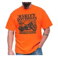 Harley-Davidson Men's Caged Motorcycle Crew Neck Short Sleeve T-Shirt, Orange