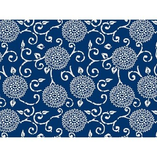 "Pack Of 1, 24"" X 417' Blue Indigo Rhapsody Floral & Kraft Gift Wrap For Feminine, Birthday, Mother's Day / Any Occasion"