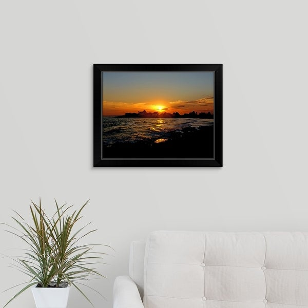 """Sunrise on the coast"" Black Framed Print"