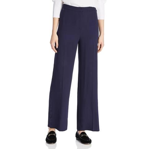 Eileen Fisher Womens Dress Pants Silk Tuxedo Stripe - Midnight