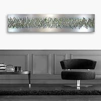 Statements2000 Silver / Green Modern Etched Metal Wall Art Sculpture by Jon Allen - Green Array