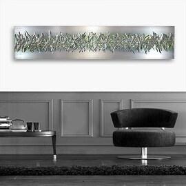 Statements2000 Silver/Green Modern Etched Metal Wall Art Panel Sculpture by Jon Allen - Green Array
