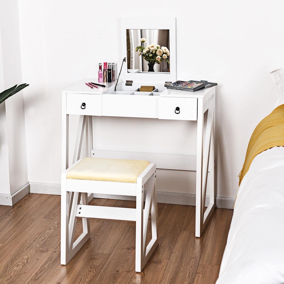 . Costway Vanity Dressing Table Set Flip Makeup Mirror Stool Furniture W  2  Drawers White