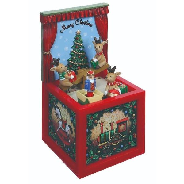 "Set of 2 Musical Reindeer Seesaw Blocks Table Top Decor 7.4"" - RED"
