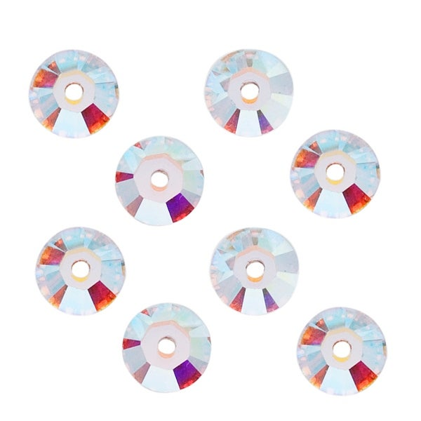Swarovski Elements Crystal, 3188 Round Sew-On Stones Center Hole 4mm, 50 Pieces, Crystal AB