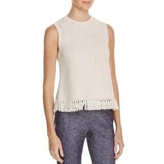 Theory Womens Meenaly Tank Top Sweater Fringe Crew Neck - L