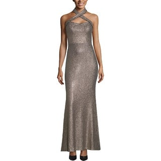 Link to Xscape Womens Evening Dress Sequined Halter - Gold/Navy Similar Items in Dresses