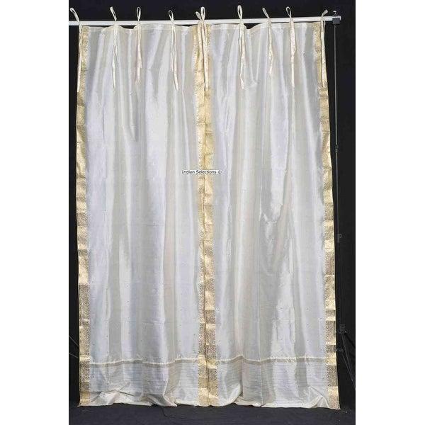 Cream Tie Top Sheer Sari Curtain / Drape / Panel - Piece. Opens flyout.