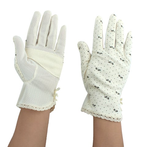 Women Motorcycle Riding Dot Pattern Sun Resistant Gloves Protector Beige #2