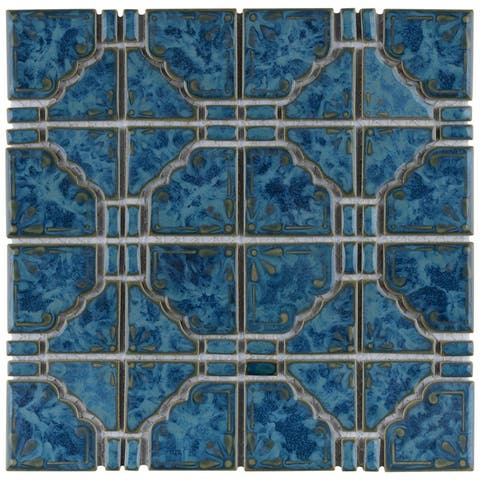 SomerTile 11.75x11.75-inch Luna Pacific Blue Porcelain Mosaic Floor and Wall Tile