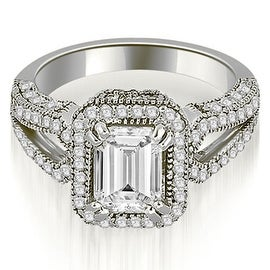 1.35 cttw. 14K White Gold Milgrain Halo Emerald Cut Diamond Engagement Ring