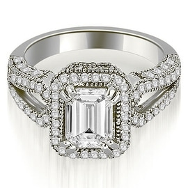 1.60 cttw. 14K White Gold Milgrain Halo Emerald Cut Diamond Engagement Ring