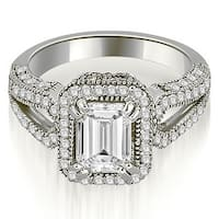 1.60 cttw. 14K White Gold Milgrain Halo Emerald Cut Diamond Engagement Ring HI, SI1-2