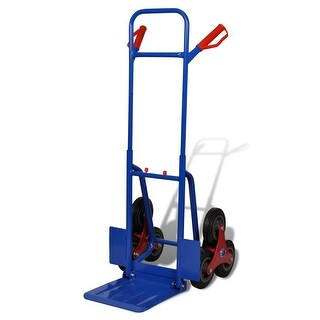 vidaXL 6-wheel Blue-Red Sack Truck with 330.7 lb Capacity