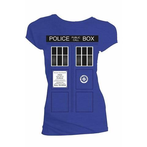 Doctor Who Classic Womens T-Shirt Tardis Doors Black Window Royal Blue S