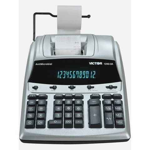 Victor 12 Digit Heavy Duty Commercial Printing Calculator Antimicrobial Printing Calculator