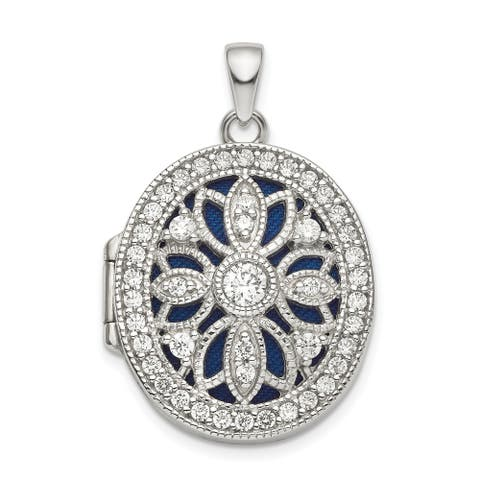 Sterling Silver Rhodium-plated Fancy CZ Oval Locket with 18-inch Cable Chain By Versil