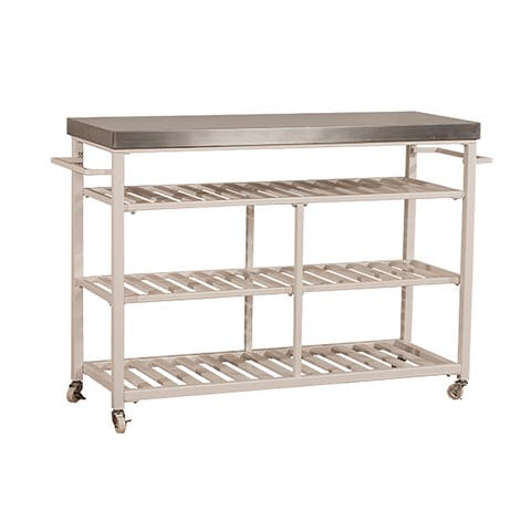 """Hillsdale Furniture 4701-8S Kennon 48"""" Wide Metal Framed Stainless Steel Top Island Cart with Casters"""