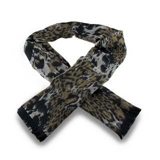 100% Cashmere Black / Brown Cheetah Print Fringed Scarf
