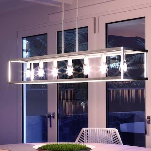 "Luxury Scandinavian Chandelier, 9.75""H x 52""W, with Modern Style, Brushed Nickel, UQL3230 by Urban Ambiance"