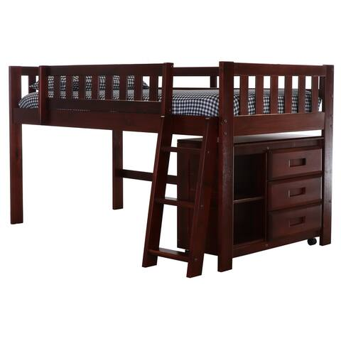 OS Home and Office Model 82804 Twin Low Loft with Chest in Rich Merlot