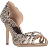 Badgley Mischka Marla Peep-Toe Dress Heels, Ivory Satin