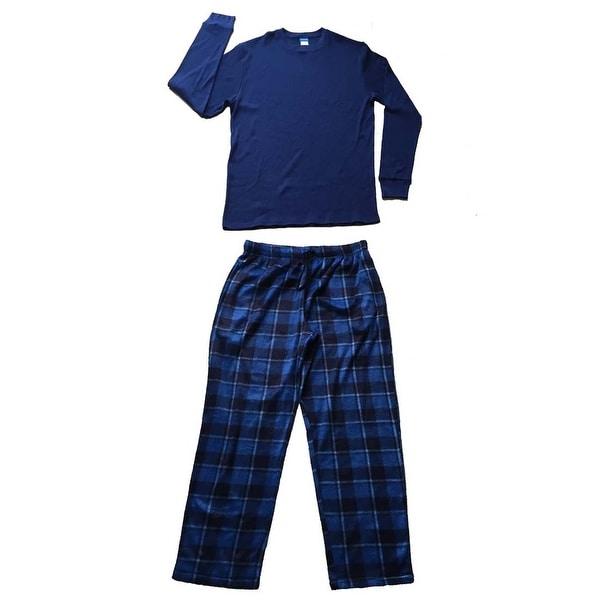 Men Cotton Thermal Top & Fleece Lined Pants Pajamas Set (Navy)