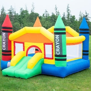 Costway Inflatable Crayon Bounce House Castle Jumper Moonwalk Bouncer without Blower