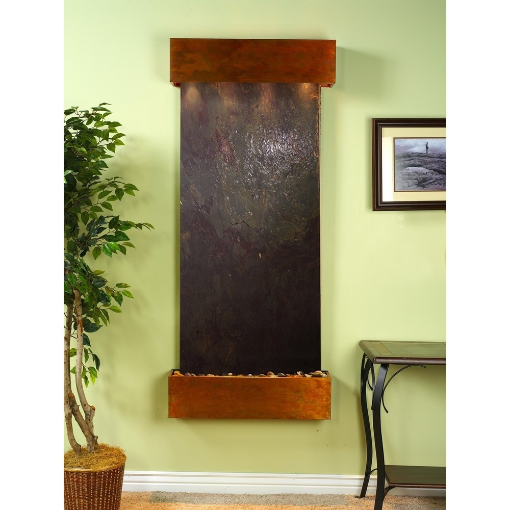 Adagio Inspiration Falls Fountain w/ Rajah Featherstone in Rustic Copper Finish - Thumbnail 0